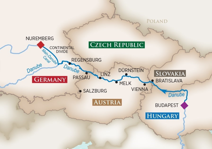 Blue Danube river cruise map
