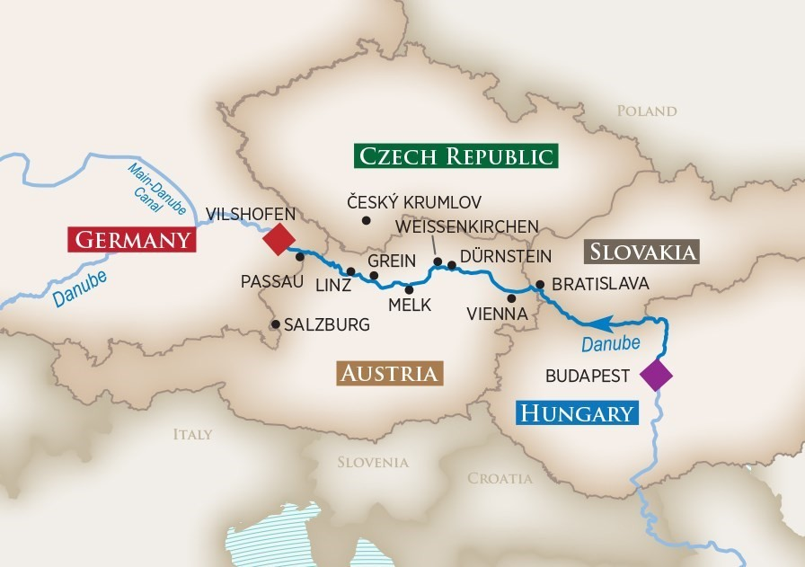 Melodies of the Danube cruise map