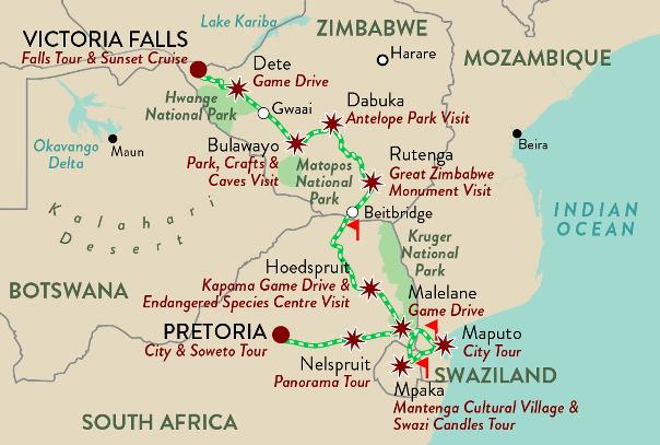 Shongololo Express Pretoria to Vic Falls
